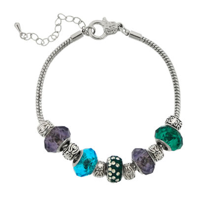 Dazzling Designs™ Silver-Plated Blue, Purple & Green Glass Bead Bracelet