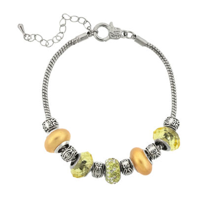 Dazzling Designs™ Silver-Plated Yellow Glass Bead Bracelet