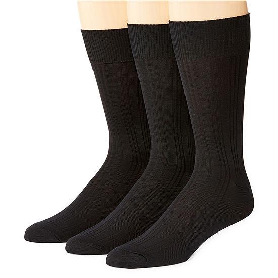 Stafford® 3-pk. Mens Nylon Microfiber Crew Socks - Extended Size