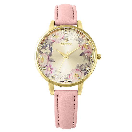 Decree Womens Pink Strap Watch-Pt2221gdcr