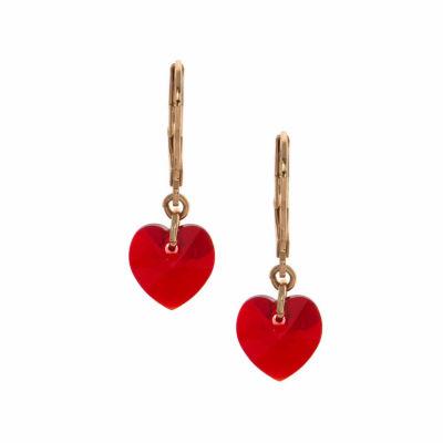Gloria Vanderbilt Red Heart Drop Earrings