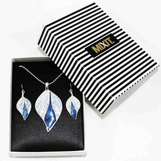 Mixit™ 2-pc. Silver-Tone Blue Enamel Leaf Earrings & Necklace Set
