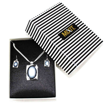 Mixit™ Gray Silver-Tone Necklace and Earring Set