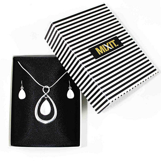 Mixit™ White Silver-Tone Necklace and Earring Set