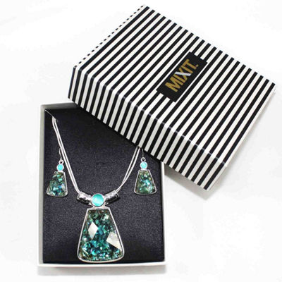 Mixit™ Silver-Tone Abalone-Look Pendant Necklace and Earring Set