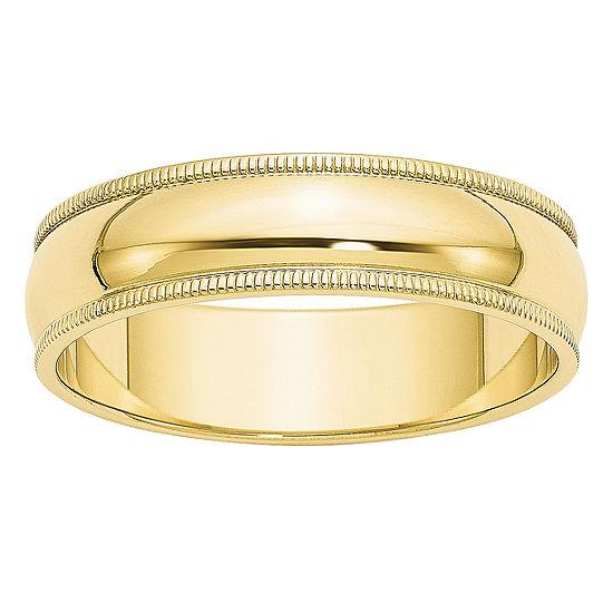 Mens 6MM 10K Gold Wedding Band