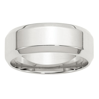 Personalized Mens 8MM Sterling Silver Wedding Band