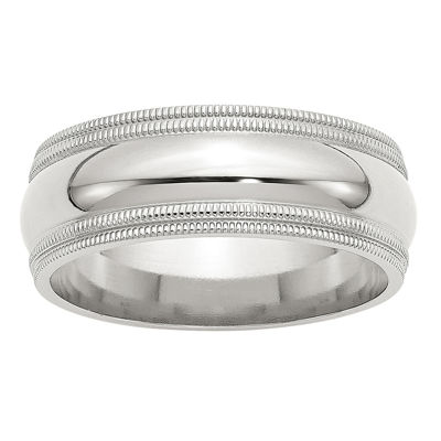 Personalized Womens 8MM Sterling Silver Wedding Band