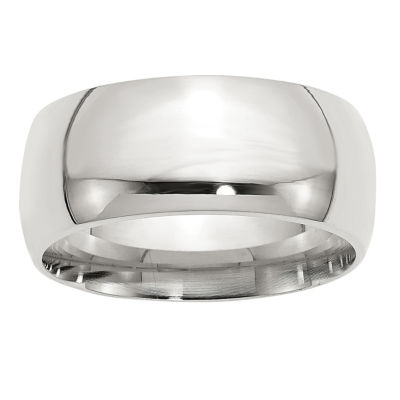 Mens 10MM Sterling Silver Wedding Band