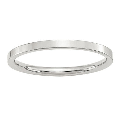 Womens 2MM Sterling Silver Wedding Band