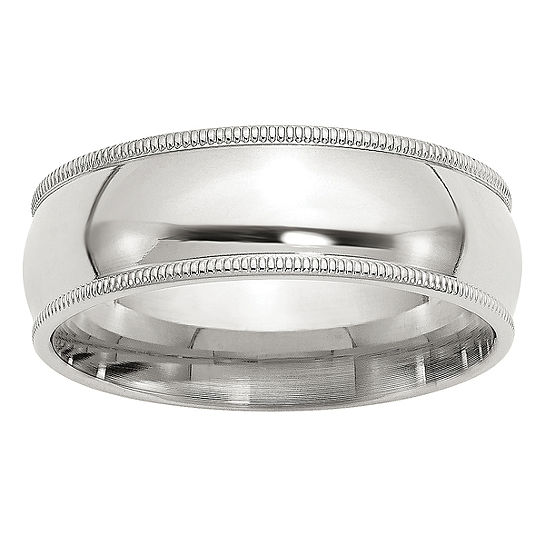 Personalized 7MM Sterling Silver Wedding Band