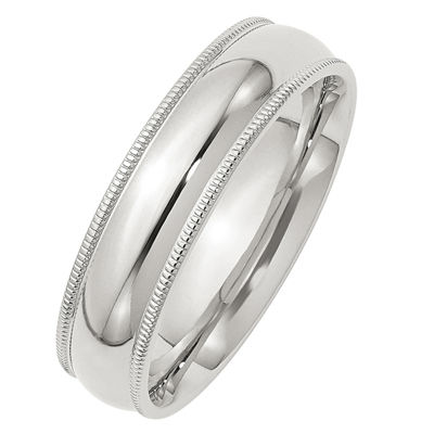 Mens 6MM Sterling Silver Wedding Band