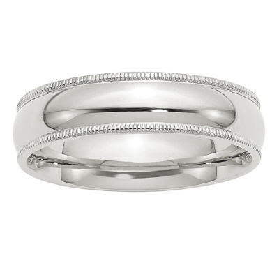 Womens 6MM Sterling Silver Wedding Band