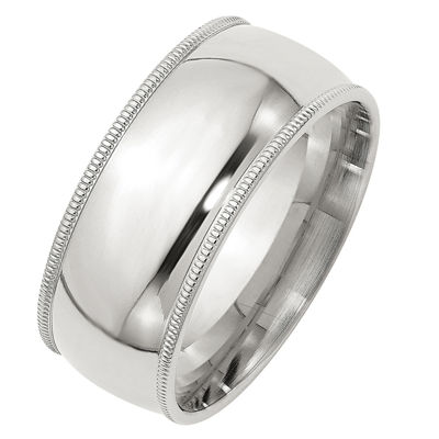 Personalized Mens 9M Sterling Silver Wedding Band