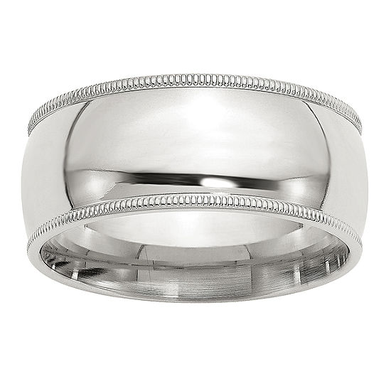 Milgrain Comfort Fit 9M Sterling Silver Wedding Band