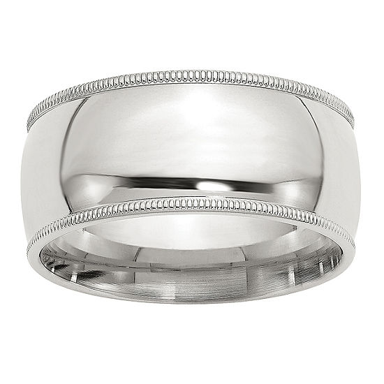 Womens 10MM Sterling Silver Wedding Band