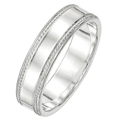 Personalized Mens 6MM Sterling Silver Wedding Band
