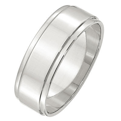 Personalized Womens 7mm Sterling Silver Band