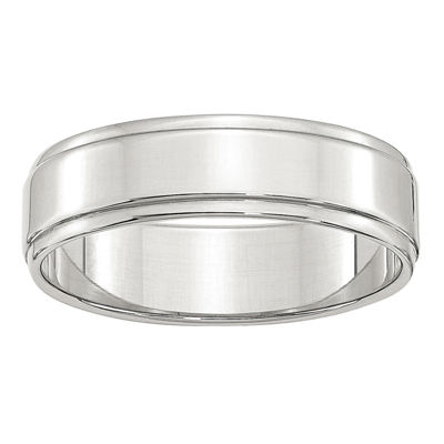 Mens 6mm Sterling Silver Band