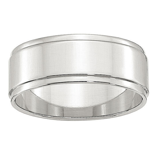 Womens 8MM Sterling Silver Wedding Band