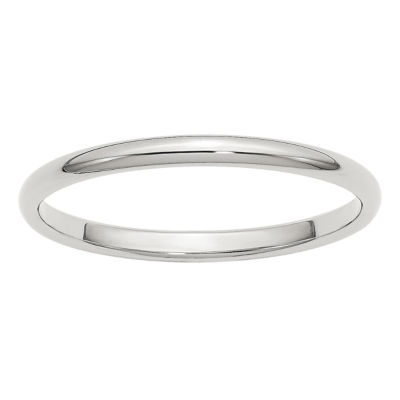 Mens 2MM Sterling Silver Wedding Band