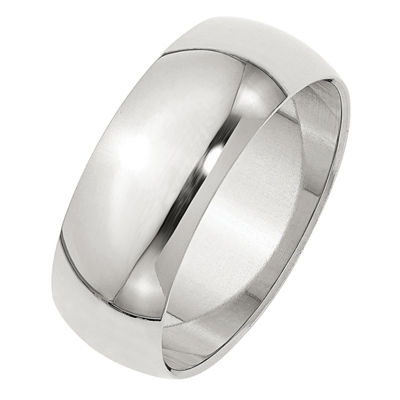 Mens 8mm Sterling Silver Band