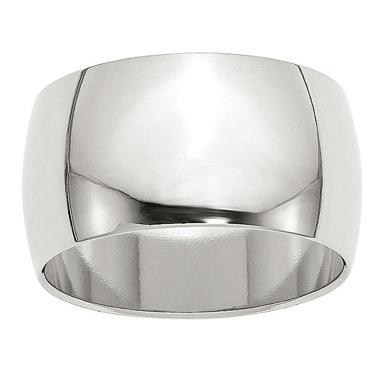 Mens 12MM Sterling Silver Wedding Band