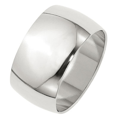 Mens 12mm Sterling Silver Band