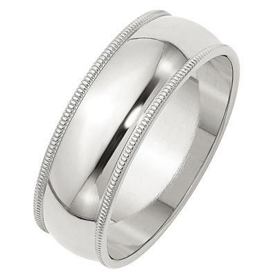 Womens Sterling Silver Milgrain Half Round Wedding Band