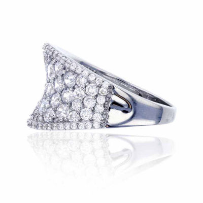 Sterling Silver Concave Pave Cocktail Ring
