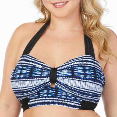 Boutique + Shibori Halter Bandeaukini Swimsuit Top-Plus
