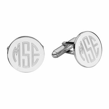 Personalized Sterling Silver Round Cuff Links