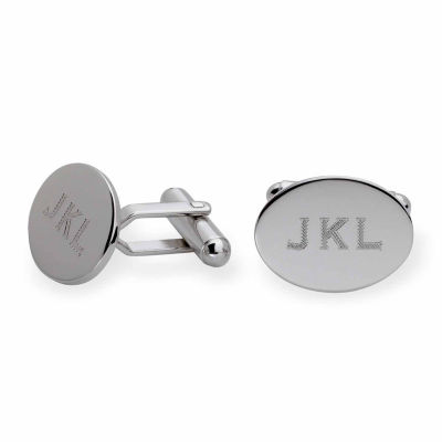 Personalized Sterling Silver Oval Cuff Links