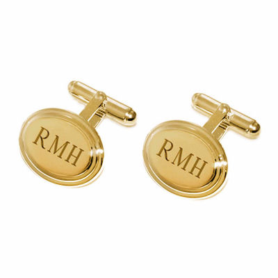 Personalized Stepped Oval Cuff Links