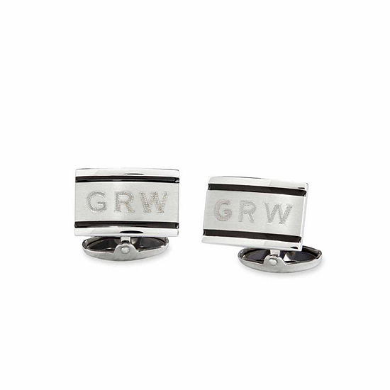 Personalized Brushed Stainless Steel Cuff Links
