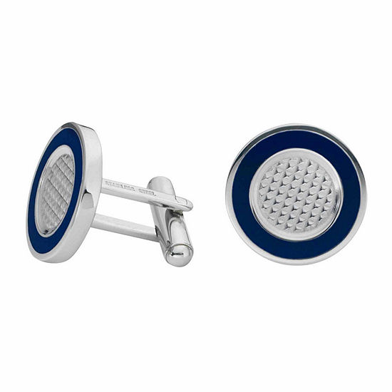 Round Stainless Steel Cuff Links with Enamel Border
