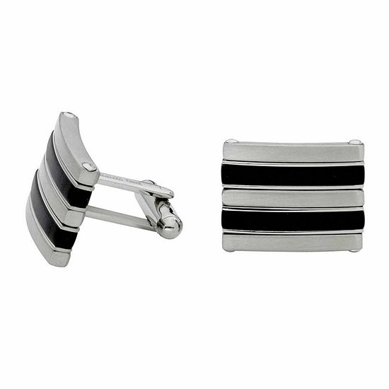 Stainless Steel And Black Rubber Cuff Links