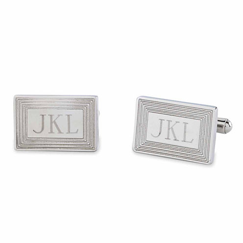 Stainless Steel Cuff Links w/ 3-Line Framed Border