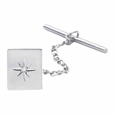 Sterling Silver Tie Tack with Diamond Accent