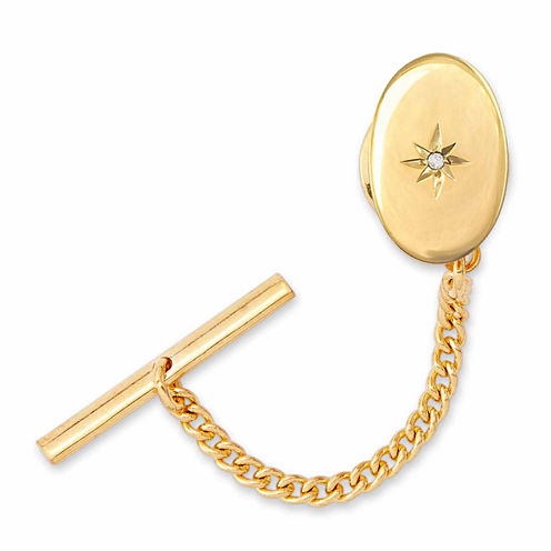 Gold-Plated Polished Tie Tack with Star and Diamond Accent