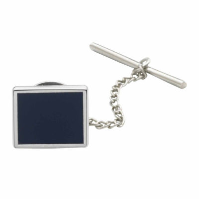 Rhodium-Plated Tie Tack with Blue Enamel Center