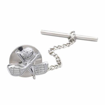 Golf Clubs Rhodium-Plated Tie Tack