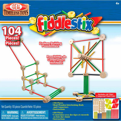 Ideal 104 Piece Fiddlestix Wood Connector Discovery Toy