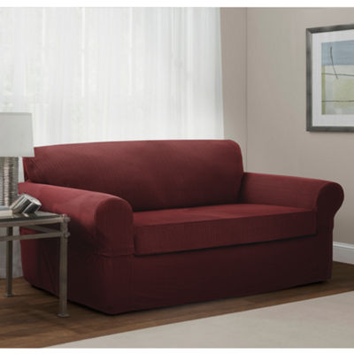Maytex Smart Cover® Connor Two-toned Grid Stretch 2 Piece Loveseat Furniture Cover Slipcover