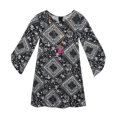 Rare Editions Long Sleeve Split Sleeve Shift Dress - Preschool Girls