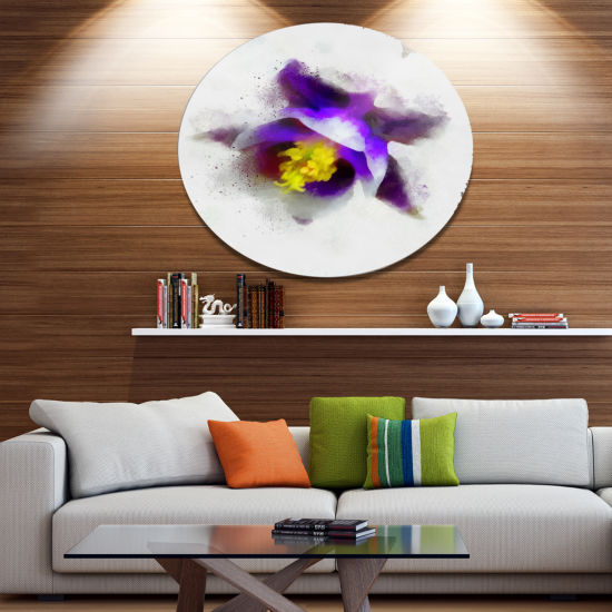 Designart Blue Flower with Yellow Stigma OversizedFloral Aluminium Wall Art