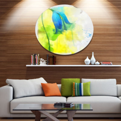 Designart Blue Flower with Yellow Splashes LargeFloral Metal Artwork