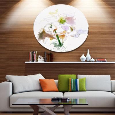 Designart Large Petal Watercolor Flower Sketch Floral Metal Round Wall Decor