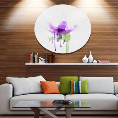 Designart Purple Flower with Green Splash FloralMetal Round Wall Decor