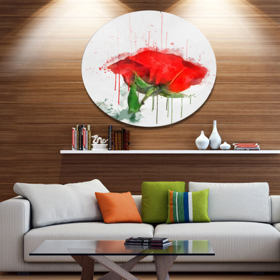 Designart Red Rose Hand drawn Painting Floral Metal Round Wall Decor